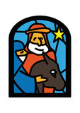 Christmas window of mary riding donkey Stock Photography