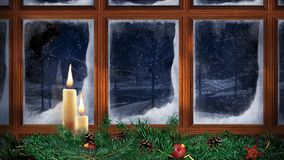 Christmas Window Santa Fly by 4K Loop. Features a window with frost on the glass and two candles flickering with snow falling outside and Santa and his Reindeer stock footage