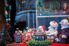 Christmas window shopping, toys and decorations. Horizontal background photo Royalty Free Stock Image