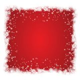 Christmas window with snow frame isolated on red background. Christmas greeting decoration for bann. Er, poster, card. Vector illustration Stock Image
