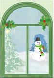 Christmas window with snowman. And christmas tree Stock Image