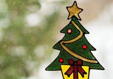Christmas window stickers decorated Christmas tree, Stock Image