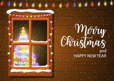 Christmas window in wooden wall. Lighted christmas tree Happy new year decoration. Merry christmas holiday. New year and xmas celebration. Vector illustration stock illustration