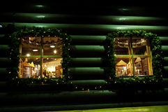 Christmas windows night decoration stock image