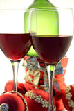 Christmas wine. For two with christmas balls and bottle Stock Photo