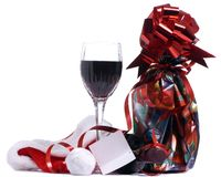 Christmas Wine. A bottle of wine for the holidays Stock Photos
