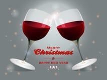 Christmas wine glasses background Royalty Free Stock Photos