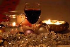 Christmas wine and insence burner. Christmas wine and insence burner, on a christmas tablecloth Stock Photos
