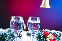 Christmas wine and ornaments Stock Photo