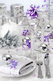 Christmas Wine Table Setting Royalty Free Stock Photo
