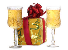 Christmas wineglasses Stock Photo