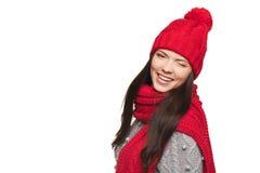Christmas winking girl Stock Images