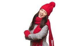 Christmas winking girl Royalty Free Stock Photo
