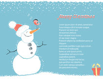Christmas winter background card with snowman for  Stock Photography