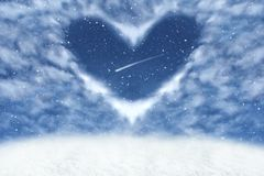 Christmas winter background with clouds in heart frame. Happy and love background. royalty free stock photo
