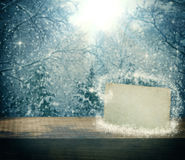 Christmas winter background with empty paper blank Royalty Free Stock Image