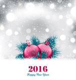 Christmas winter background with glass balls Royalty Free Stock Photos
