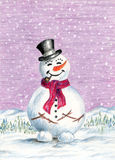 Christmas winter background with happy Snowman. Stock Photos