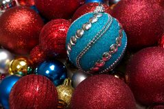 Christmas winter background with new year toy ball or baubles closeup royalty free stock photography