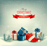 Christmas winter background with presents. Stock Photo