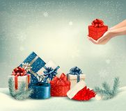 Christmas winter background with presents. Royalty Free Stock Photos