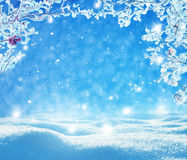Christmas winter background. With snow Royalty Free Stock Photo