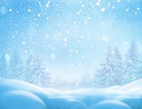 Christmas winter background with snow  Royalty Free Stock Photos