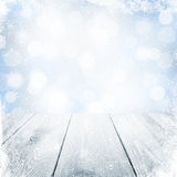 Christmas winter background with snow and wooden table Stock Photos