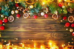 Christmas winter background, a table decorated with fir branches and decorations. Happy New Year. Merry Christmas. Christmas winter background, a table stock images