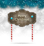 Christmas winter background with wooden blackboard Royalty Free Stock Photography