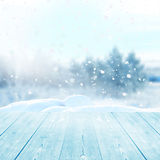 Christmas winter background. With wooden planks Royalty Free Stock Photo