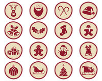 Christmas winter Badges and Design Elements with holiday symbols for kids - snowman, santa, sweets and so on. New Year Stock Photos