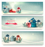 Christmas winter banners with presents. Stock Photography