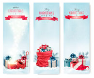 Christmas winter banners with presents. Stock Images