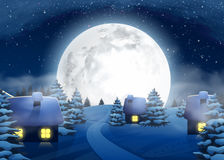 Christmas Winter Big Full Moon Night Landscape with Small Houses Royalty Free Stock Photography