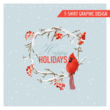 Christmas Winter Birds and Berries Graphic Design - for t-shirt Royalty Free Stock Photography