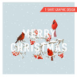 Christmas Winter Birds and Berries Graphic Design - for t-shirt Royalty Free Stock Photos