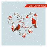 Christmas Winter Birds and Berries Graphic Design - for t-shirt Stock Images