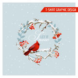 Christmas Winter Birds and Berries Graphic Design - for t-shirt Royalty Free Stock Image