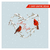 Christmas Winter Birds Graphic Design Royalty Free Stock Photos