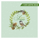 Christmas Winter Birds Graphic Design Stock Images