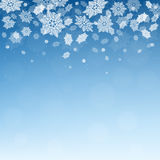 Christmas  winter  blue background with falling snowflakes. Snowfall.  Xmas vector illustration with snow Royalty Free Stock Images