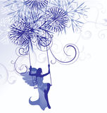 Christmas winter  blue illustration of angel woman Stock Image