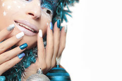 Christmas winter blue manicure . Stock Photography