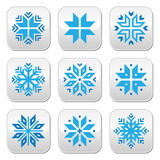 Christmas, winter blue snowflakes  buttons set Stock Image