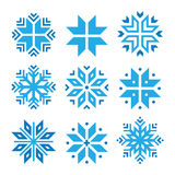 Christmas, winter blue snowflakes  icons set Stock Photography