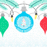 Christmas winter bubble card. Christmas winter border card background with colorful bubbles featuring new year x-mas tree Stock Photo