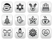 Christmas, winter buttons set - Santa Claus, snowman Royalty Free Stock Images
