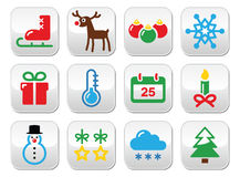 Christmas winter buttons set Stock Images