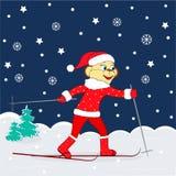 Christmas,winter card. monkey skiing Royalty Free Stock Image
